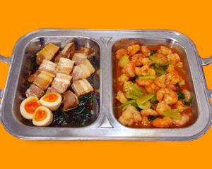 黒豚角煮とエビのチリソース